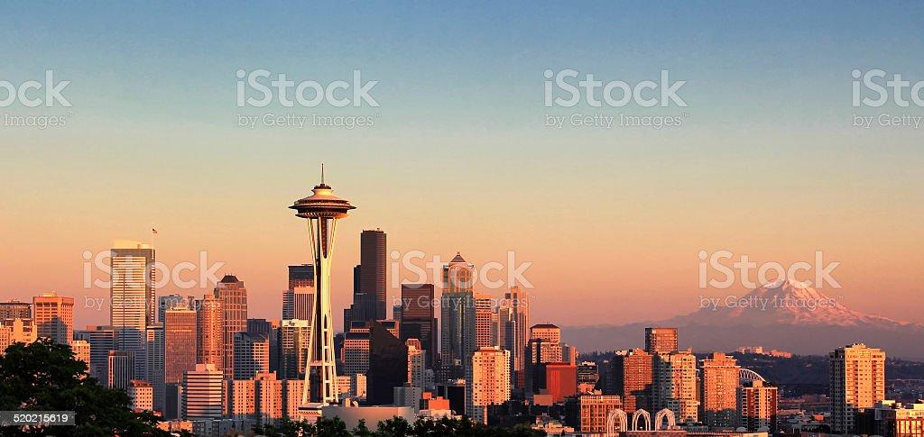 Sunset over the city of Seattle Washington stock photo
