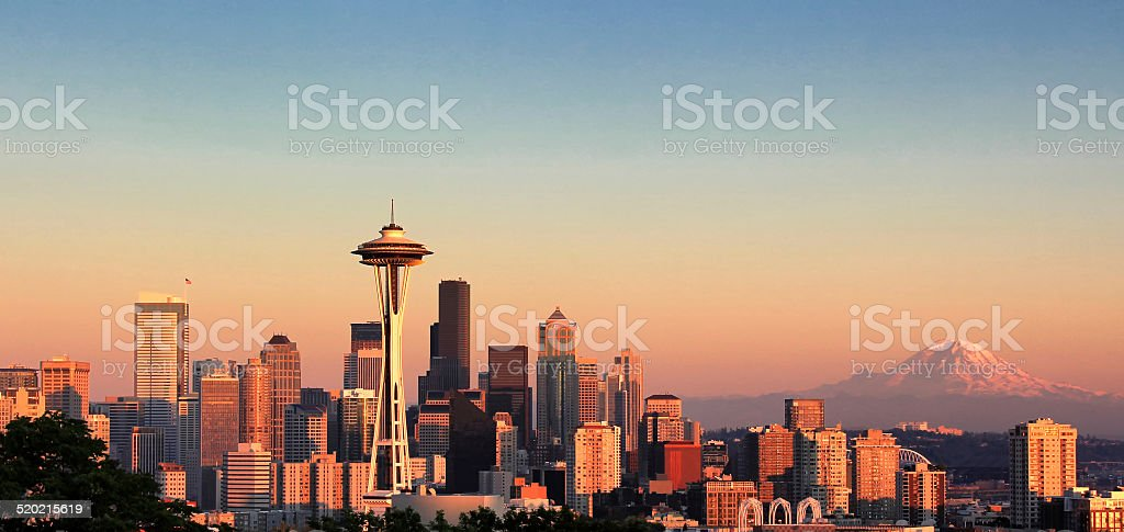 Sunset over the city of Seattle Washington stock photo