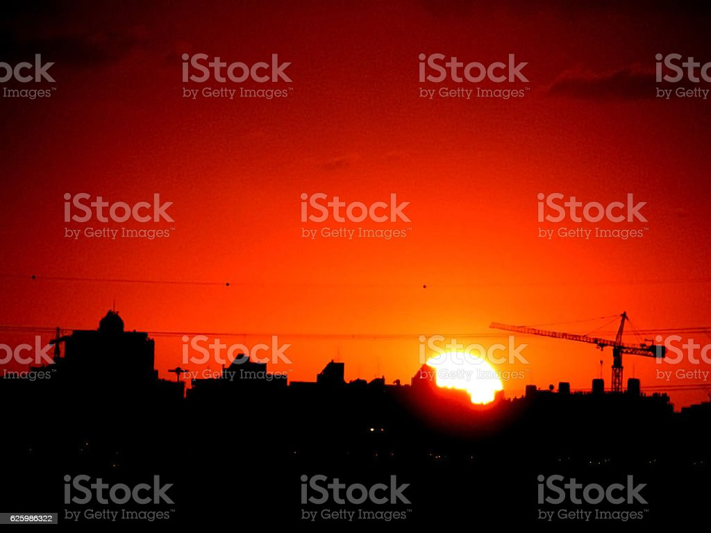 Sunset over the city stock photo