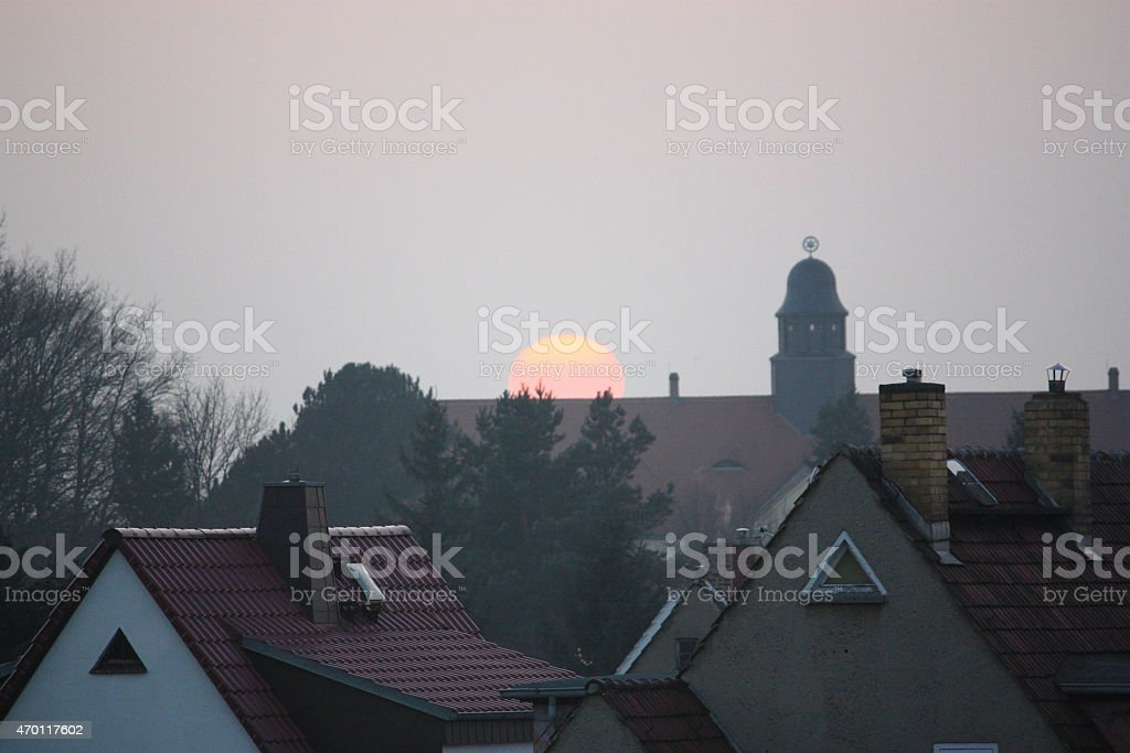 Sunset over the city, winter, Germany, the sky is burning stock photo