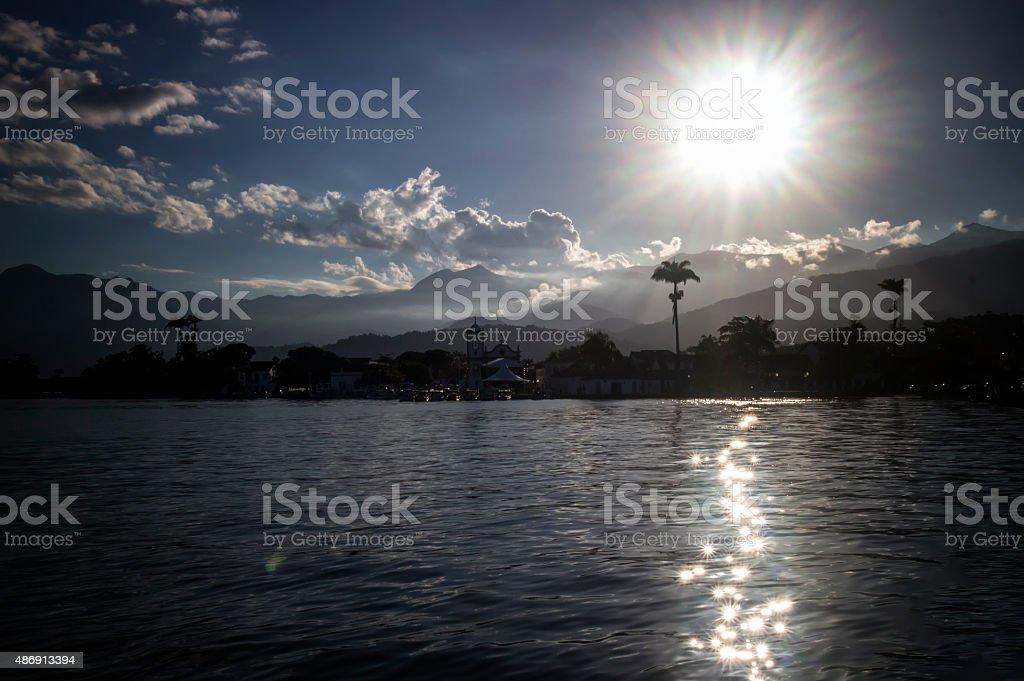 Sunset Over The Coastline in Paraty, Rio de Janeiro, Brazil stock photo