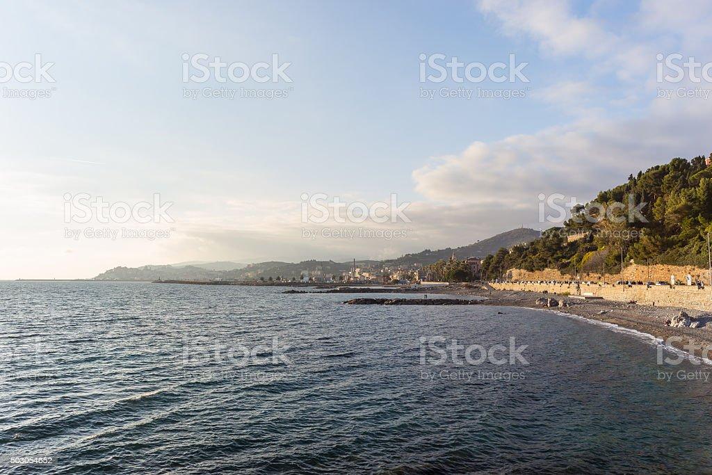 Sunset over the coastline of Imperia, Ligurian Riviera, Italy stock photo