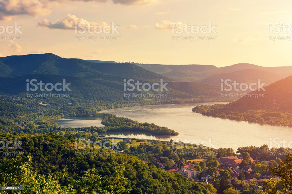 Sunset over the Danube River Bend (Dunakanyar) stock photo