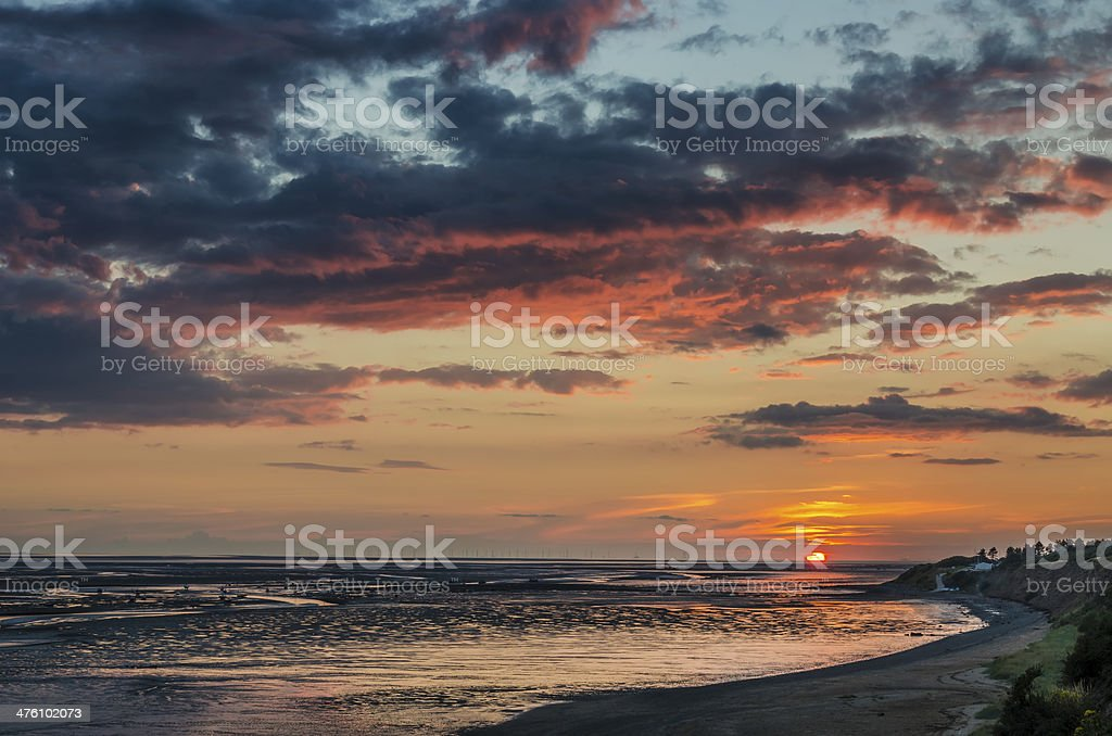 Sunset over the Dee Estuary royalty-free stock photo