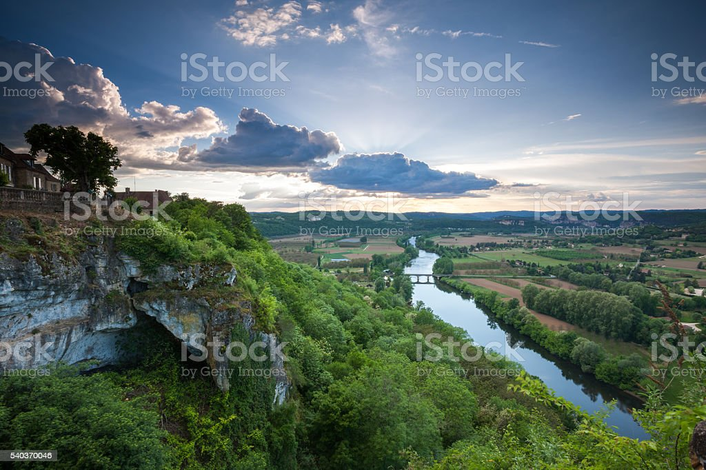 Sunset over the Dordogne valley from Domme stock photo