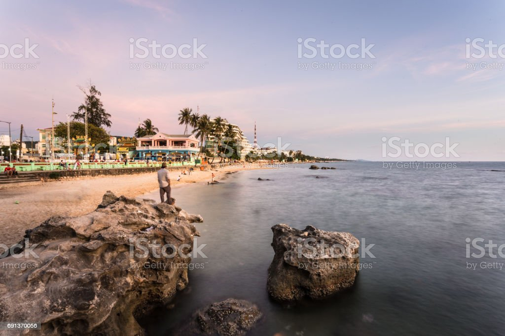 Sunset over the Duong Dong beach in Phu Quoc island stock photo