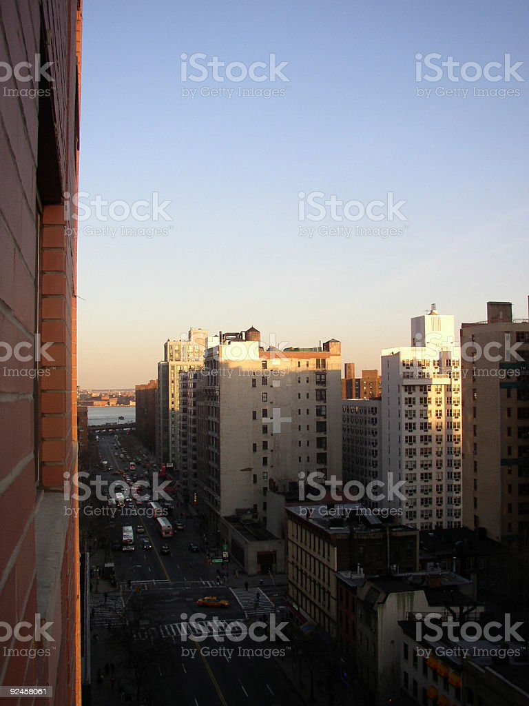 Sunset over the East River in Manhattan NYC royalty-free stock photo