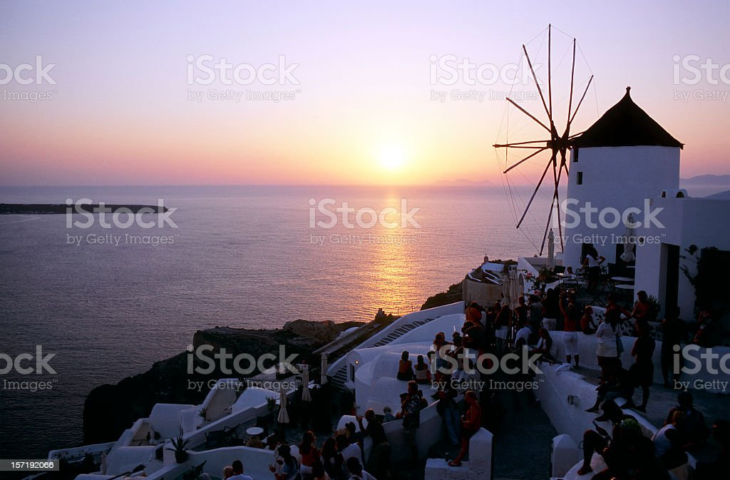 Sunset over the famous village of Oia, Santorini Island, Greece royalty-free stock photo