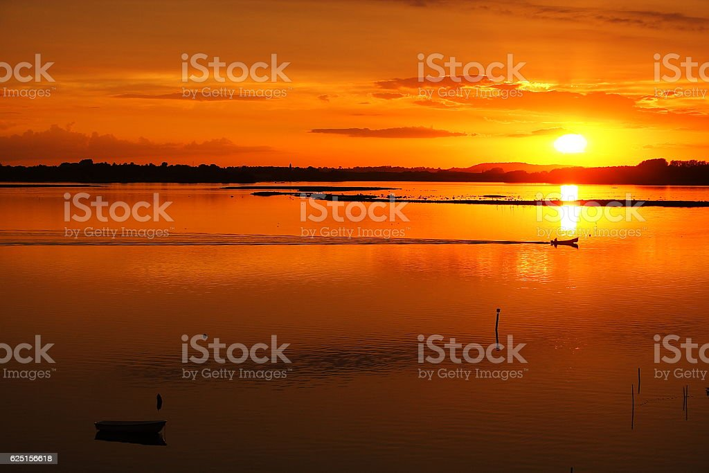 Sunset over the fjord stock photo
