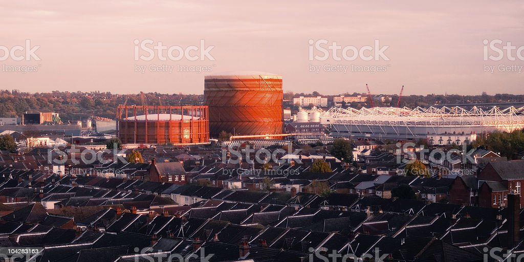 Sunset over the gas tower royalty-free stock photo