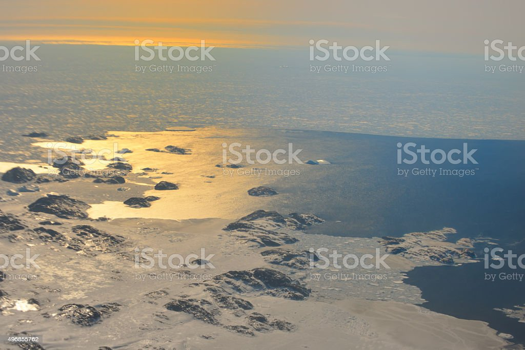 Sunset over the Greenland stock photo