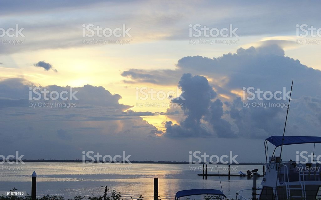 Sunset over the harbor in Cancun royalty-free stock photo