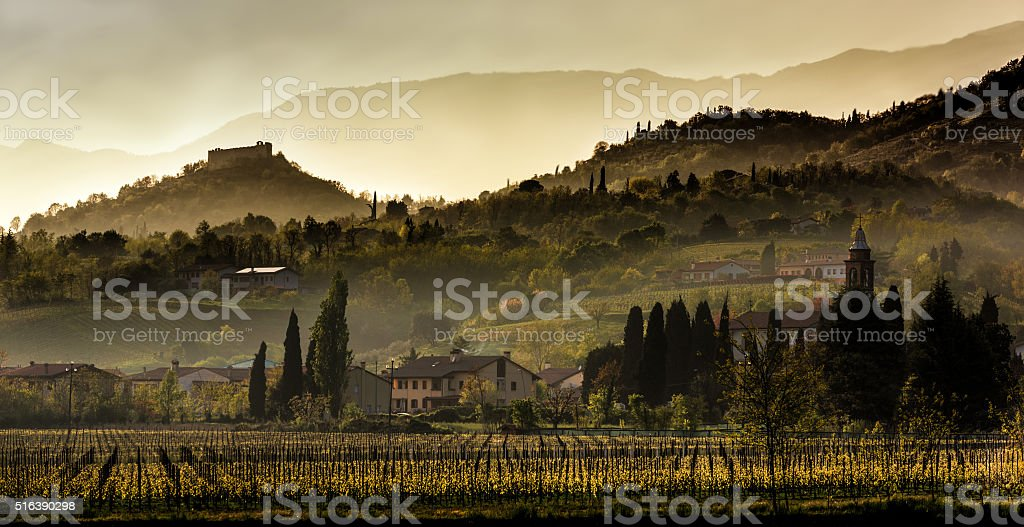 sunset over the hills of Asolo stock photo