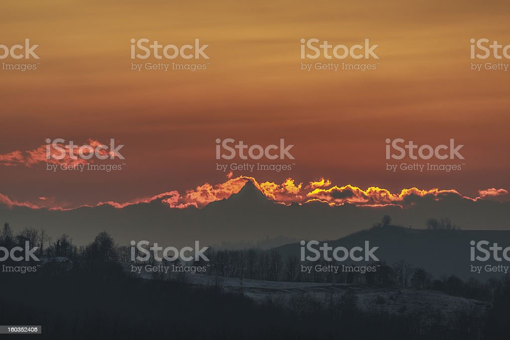 Sunset over the hills of Monferrato with Matterhorn in background stock photo
