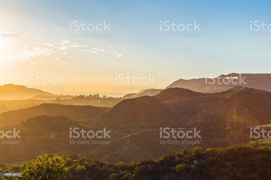 Sunset over the Hollywood sign from Griffith Observatory stock photo