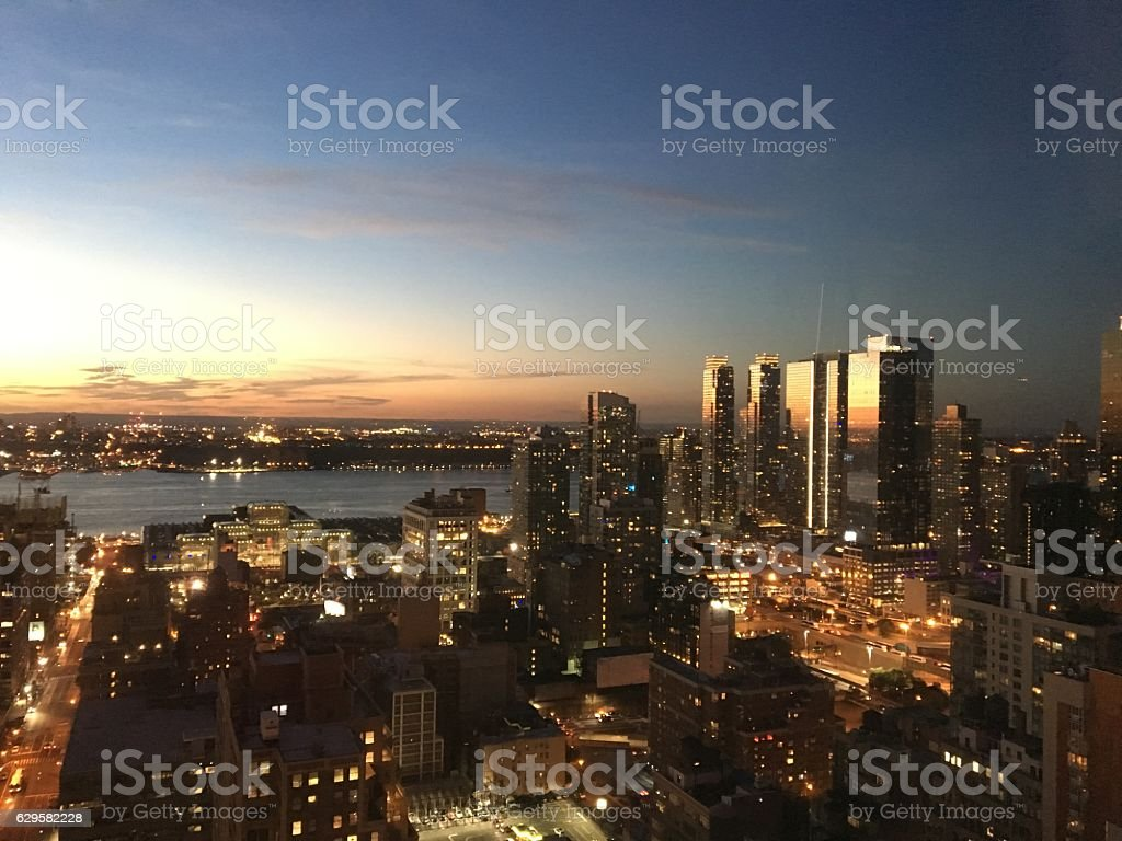 Sunset over the Hudson River stock photo