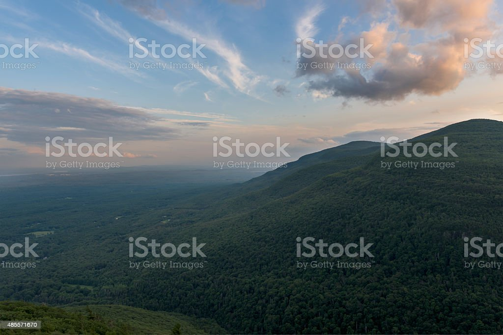 Sunset over the Hudson Valley with Catskill Mountains stock photo