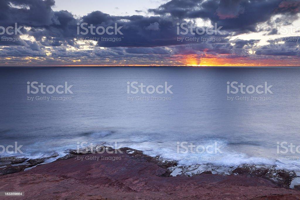 Sunset over the Indian Ocean, Kalbarri National Park, Western Australia stock photo