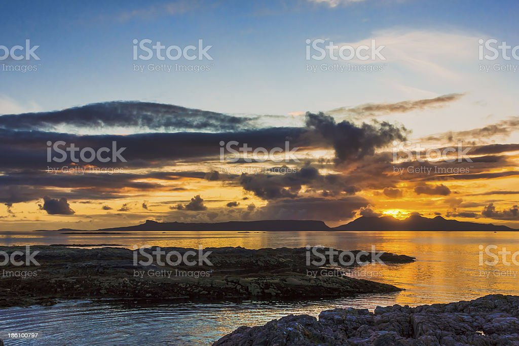 Sunset over the Inner Hebrides royalty-free stock photo