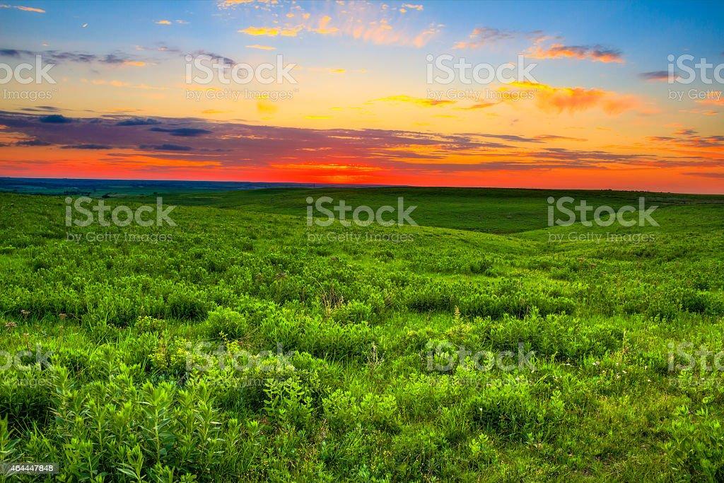 Sunset over the Kansas Flint Hills stock photo