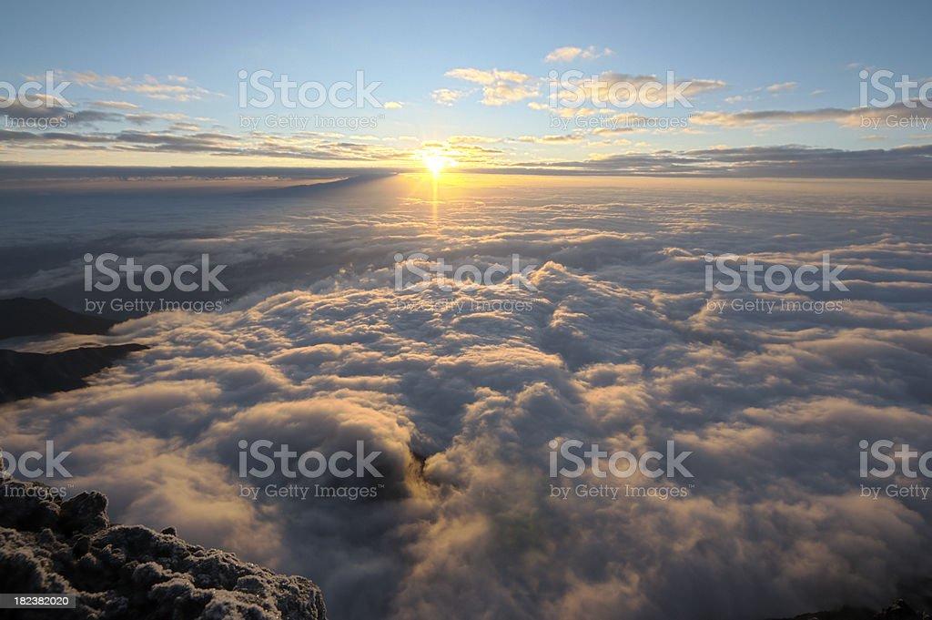 Sunset over the Kilimanjaro stock photo