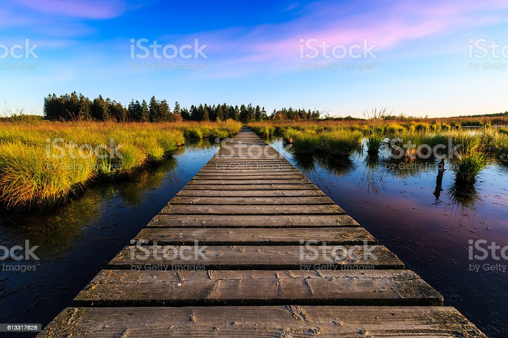 Sunset over the lake in high fens - belgium stock photo