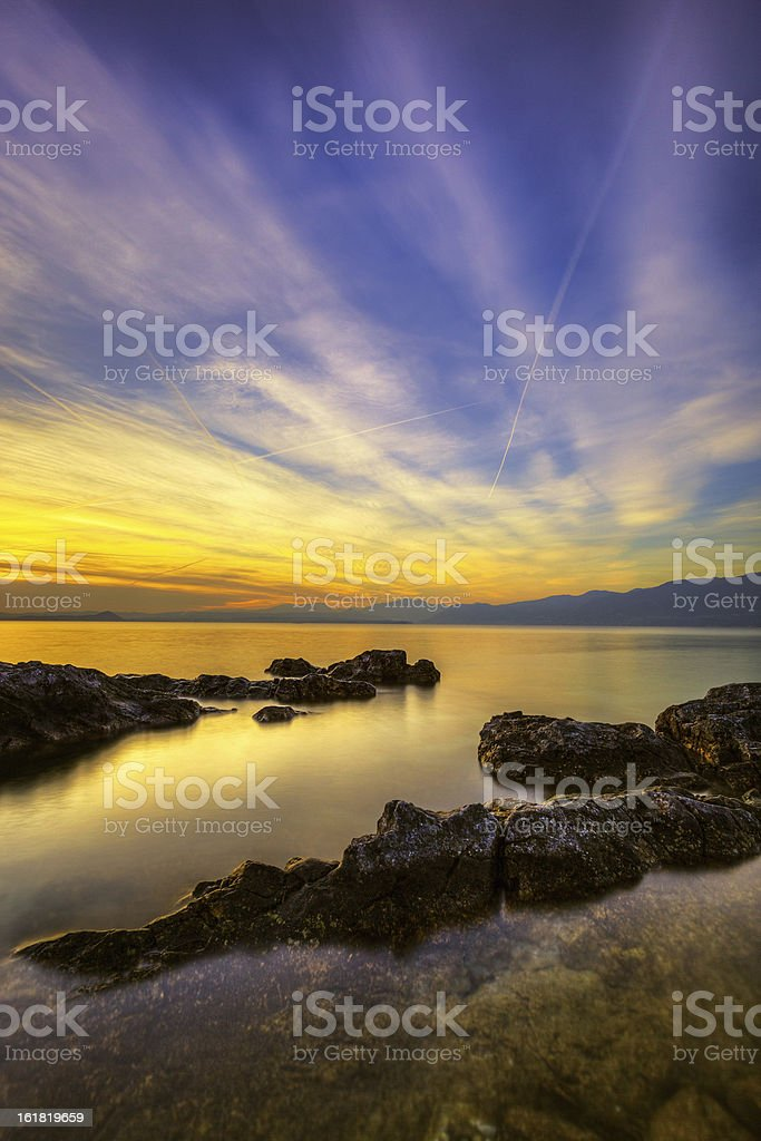 Sunset over the Lake royalty-free stock photo