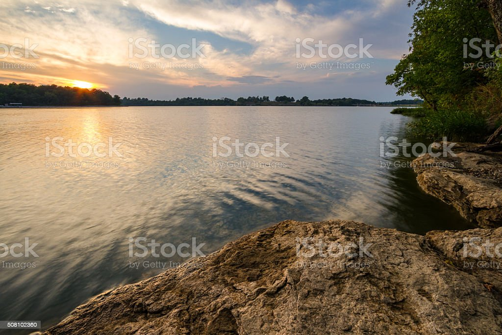 Sunset Over the Lake stock photo