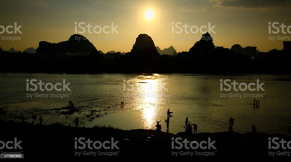 Sunset over the Li River in Guilin, China stock photo
