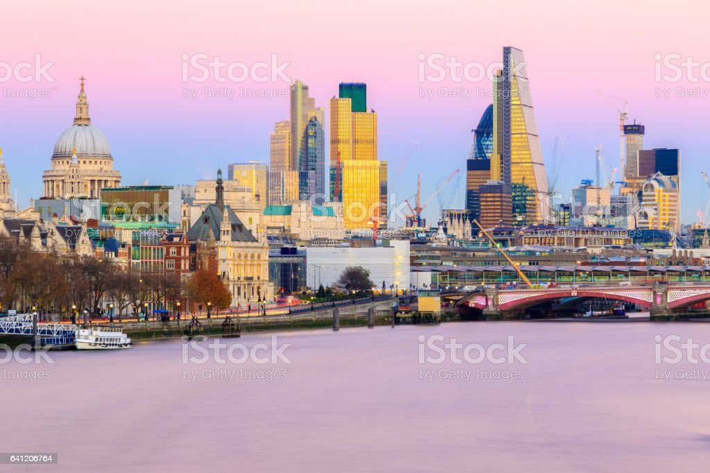 Sunset Over The London Cityscape stock photo