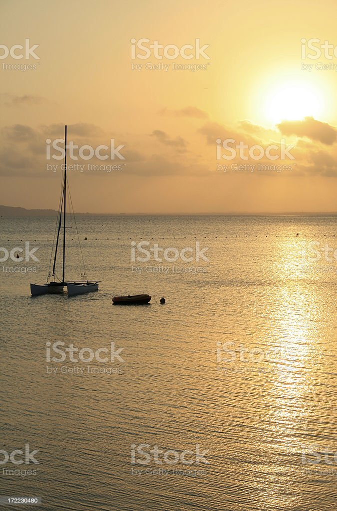 sunset over the mar menor stock photo