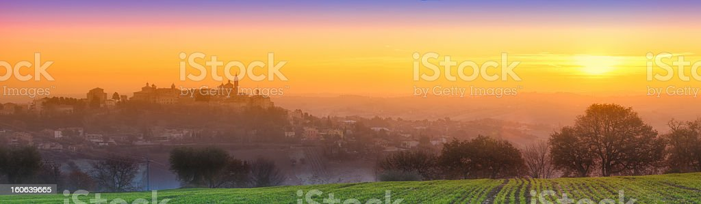 Sunset over the Marche hills Spring royalty-free stock photo