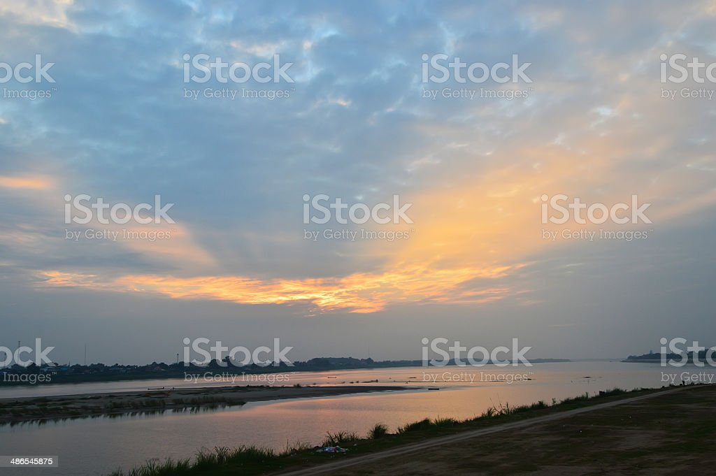 Sunset over the Mekong River stock photo