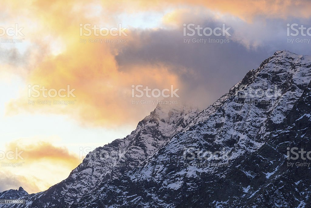 Sunset over the mountain royalty-free stock photo