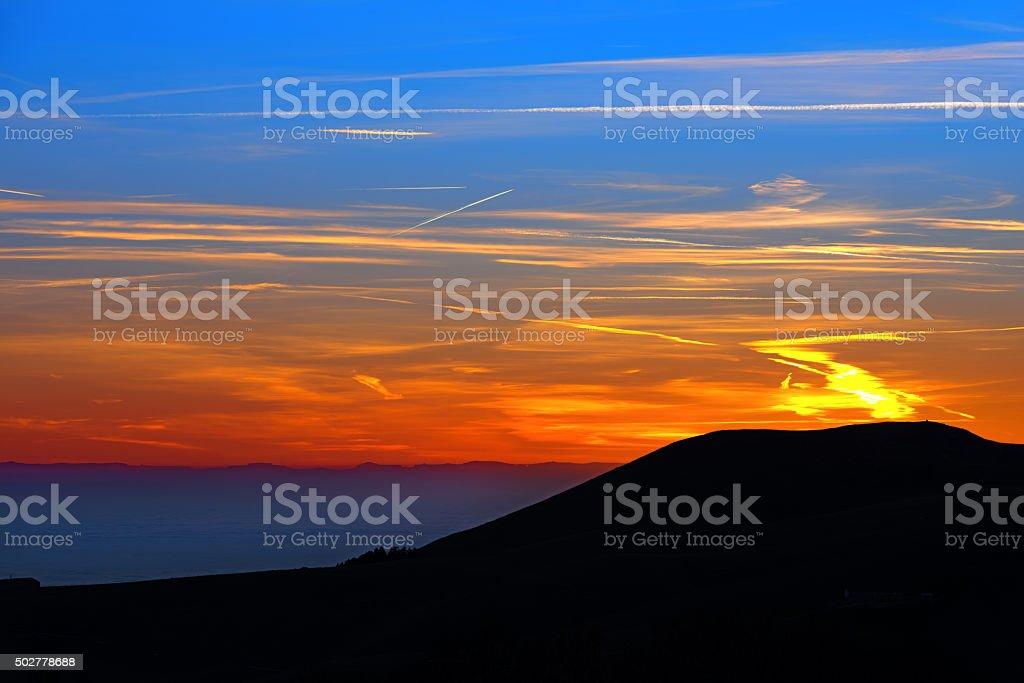 Sunset Over the Mountain stock photo