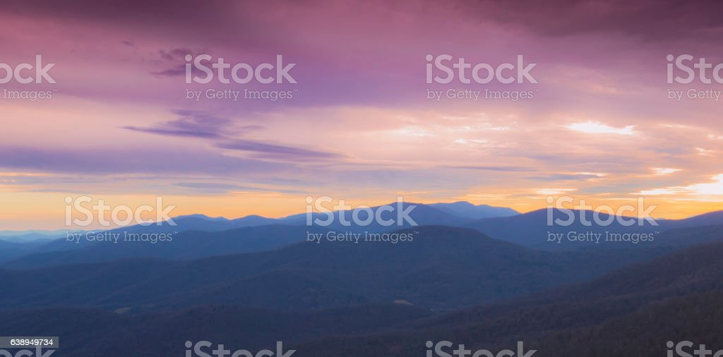 Sunset Over the Mountains stock photo
