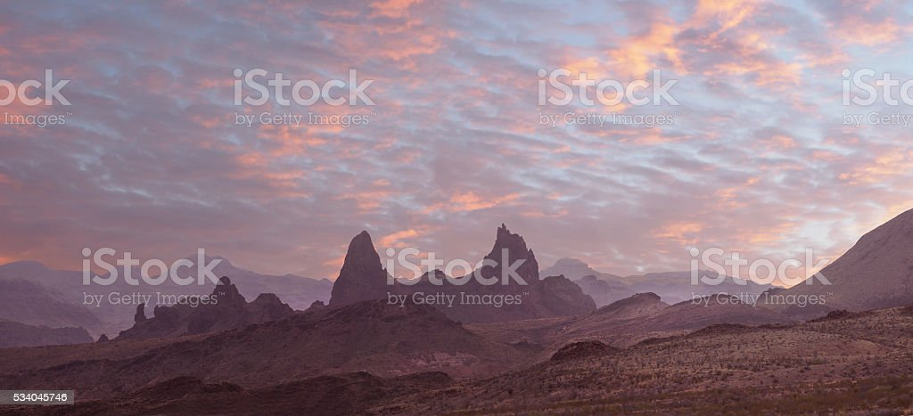 Sunset Over the Mule Ears Big Bend National Park stock photo