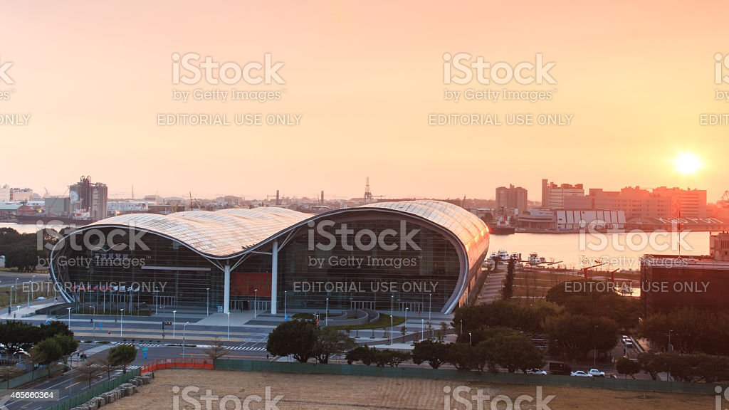 Sunset over the newly opened Kaohsiung Exhibition Center. stock photo