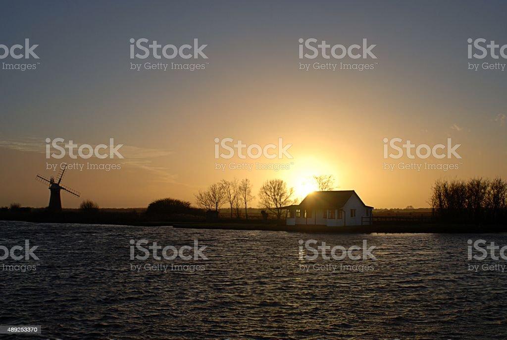 Sunset over the Norfolk Broads Landscape stock photo