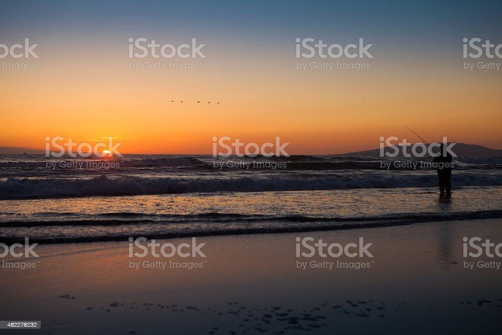 Sunset over the ocaen stock photo