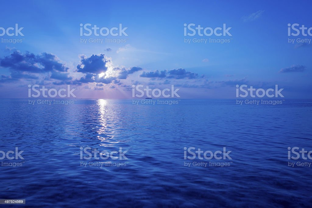 Sunset over the Ocean. stock photo