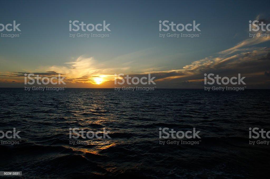Sunset over the ocean, Vanua Levu island, Fiji stock photo