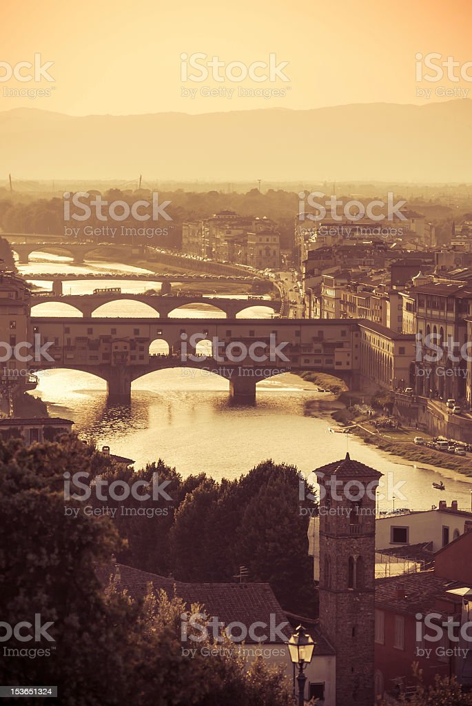 Sunset over the Old Bridge, Florence, Italy - Vintage style stock photo