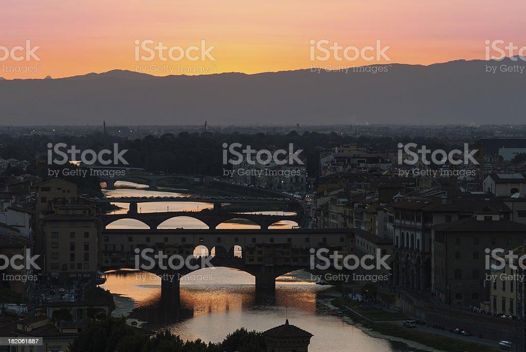 Sunset over the Old Bridge, Florence, Tuscany, Italy stock photo