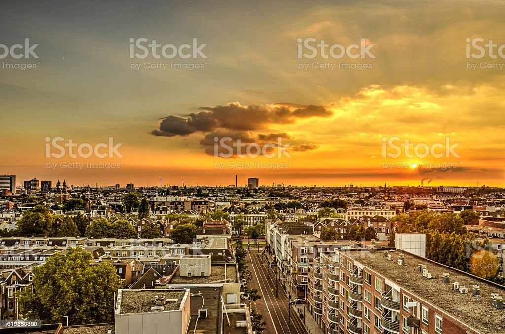 Sunset over the Old West stock photo