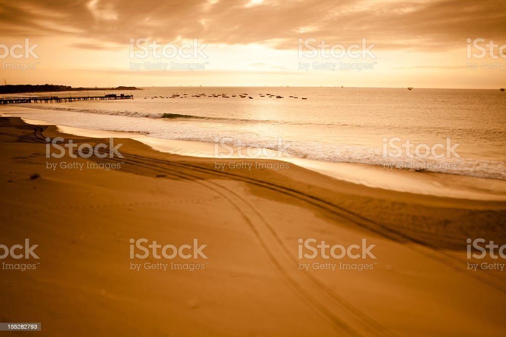 Sunset over the Pacific coast in rural Peru stock photo