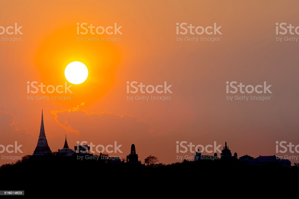 Sunset over the Phara Nakhon Khiri stock photo