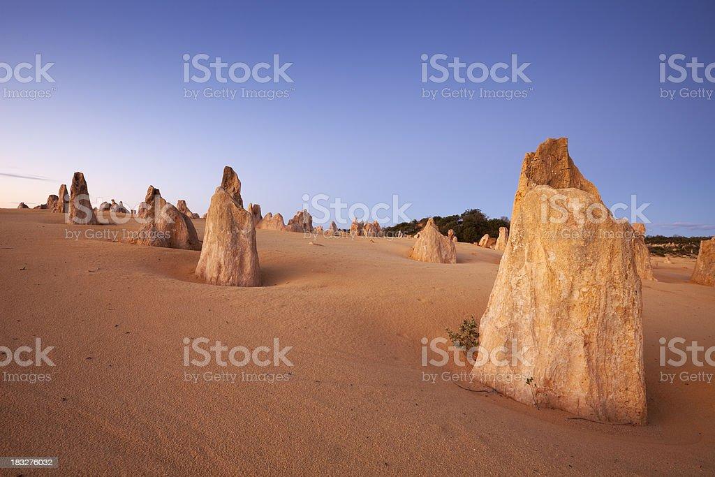 Sunset over the Pinnacles Desert, Nambung National Park, Australia stock photo