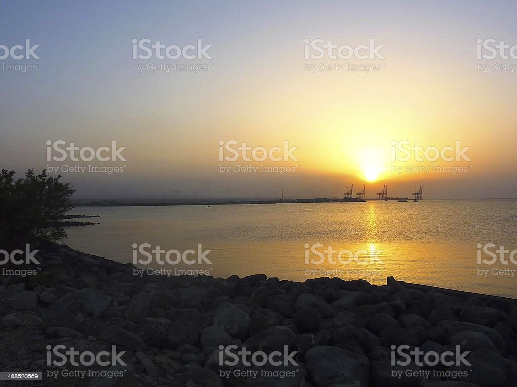 Sunset over the port of Doraleh in Djibouti royalty-free stock photo