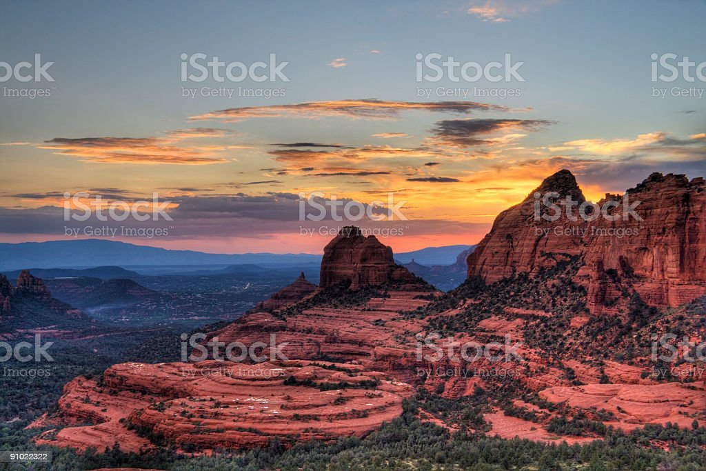 Sunset over the red rocks mountain stock photo
